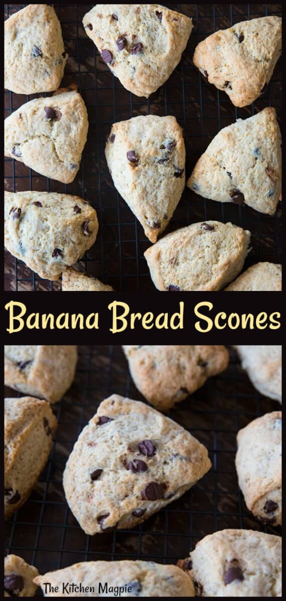 Chocolate chip banana bread scones that tastes exactly like banana bread yet still have the texture of a scone. These are literally the best scones I've ever made. #scones #bananabread #banana
