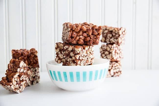 Chewy Chocolate Puffed Wheat Squares from @kitchenmagpie