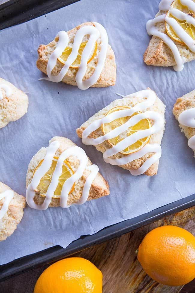 Close up of Meyer Lemon Scones Glazed with Icing