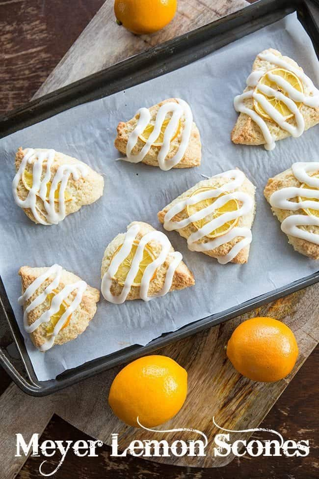 Meyer Lemon Scones with Lemon glaze icing. A perfect way to use your Meyer lemons! #lemon #scones #baking