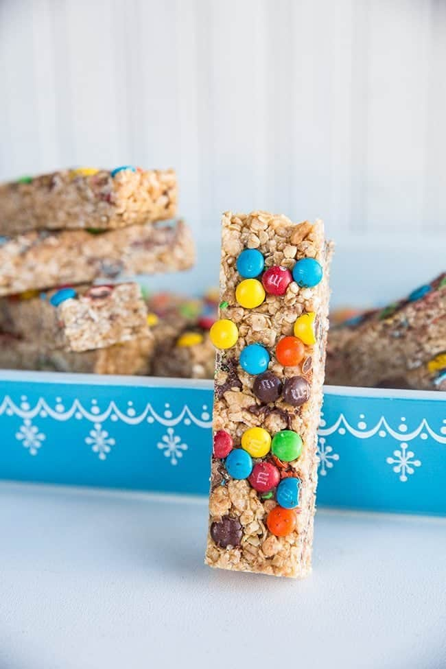 Close up of Homemade Granola Bar Slice with Colorful M&M's