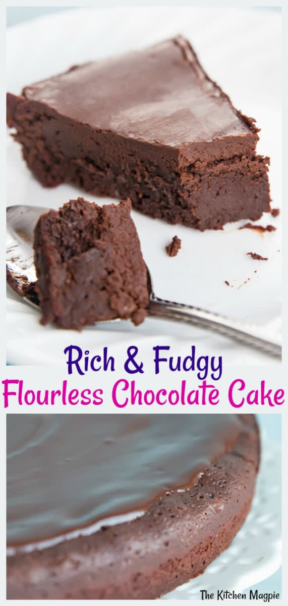 Decadent, fudgy, this gorgeous flourless chocolate cake is the perfect sweet ending to your meal - and is gluten free dessert perfection! #chocolate #glutenfree #flourless #cake