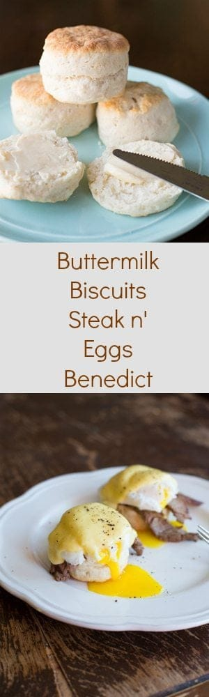 Buttermilk Biscuit Steak n' Eggs Benedictm