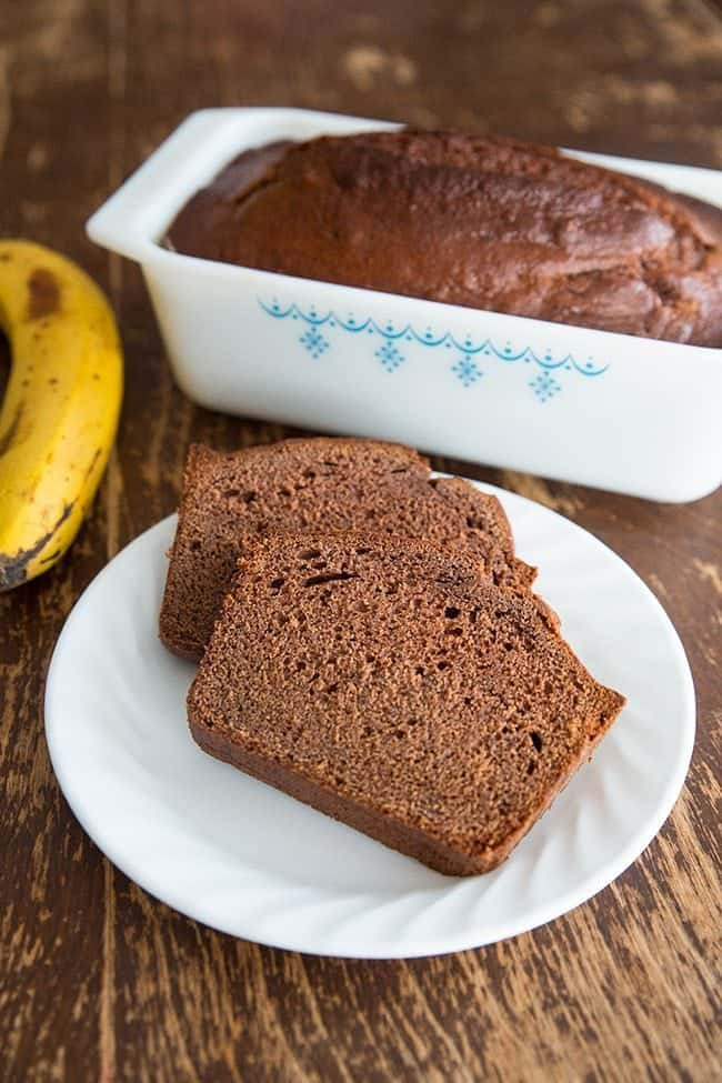 Close up of Chocolate Banana Bread in white plate and in white baking pan