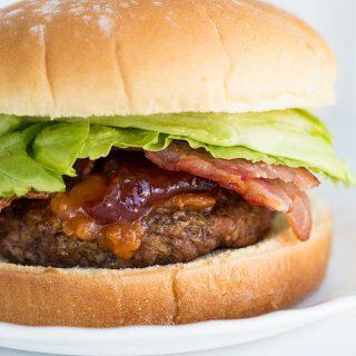Peanut Butter & Jam Bacon Sriracha Burgers