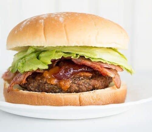 Peanut Butter Jam Bacon Sriracha Burgers The Kitchen Magpie