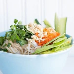 close up of a Noodle Bowl topped with assorted vegetables