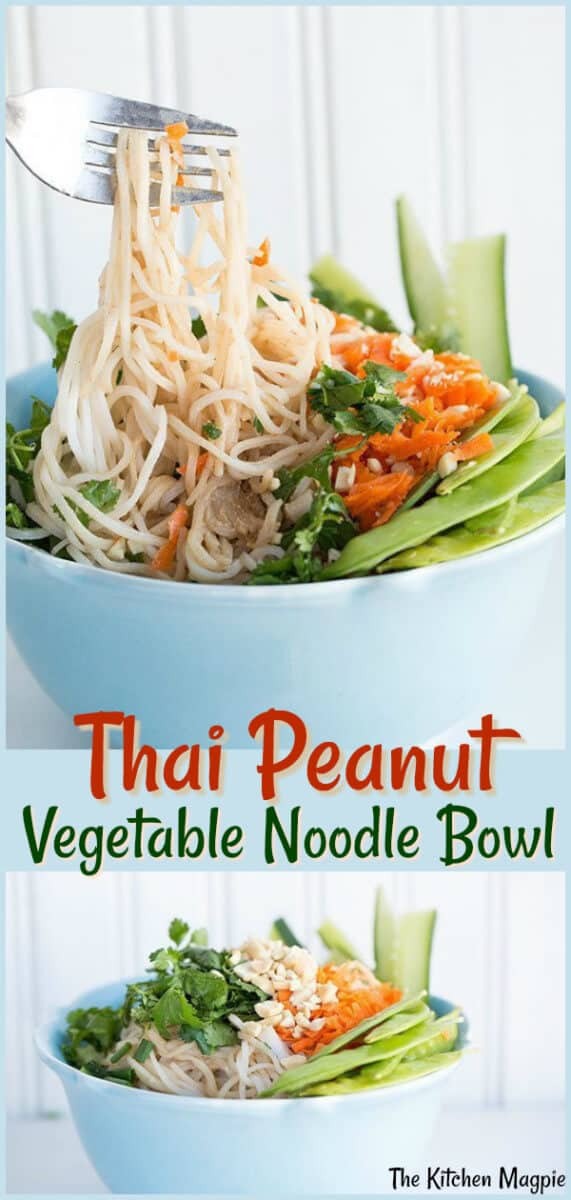 Light, easy and chock full of fresh flavour, this Thai Peanut Vegetable Bowl will be your go-to recipe! #noodles #peanutbutter #healthy