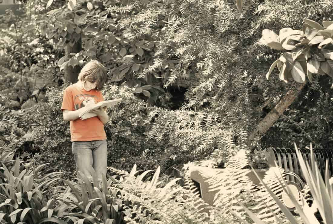 a boy with pen and sketchpad in the middle of garden