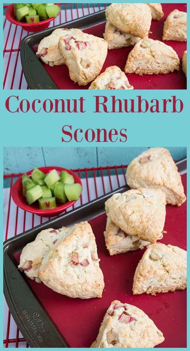 Coconut Rhubarb Scones from @kitchenmagpie