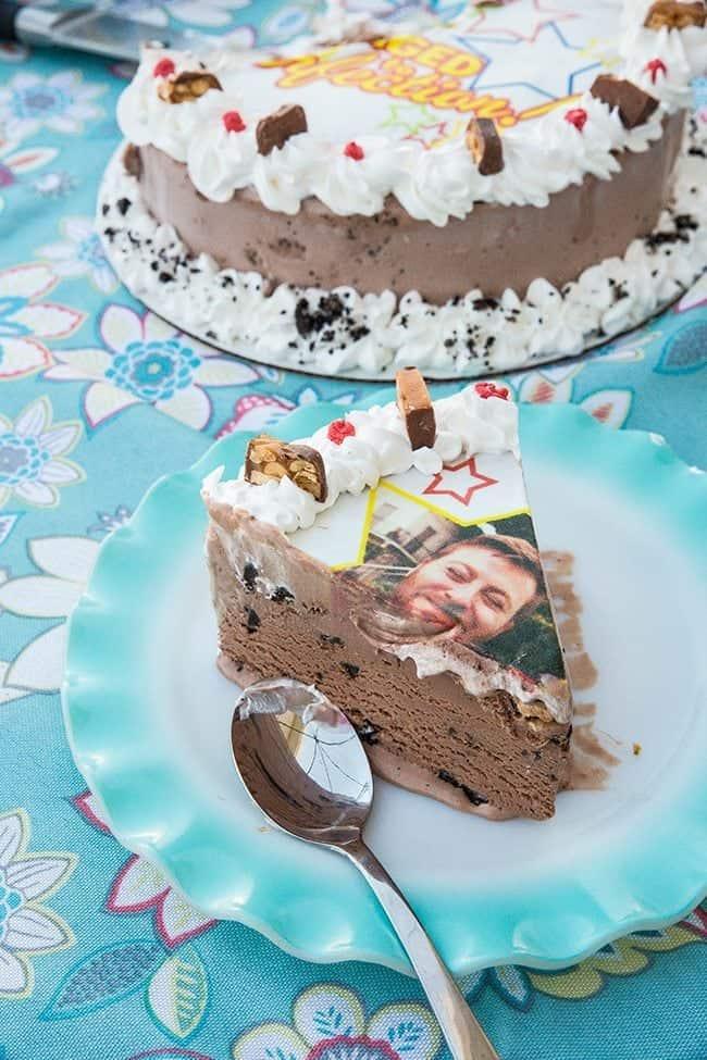 a slice of Marble Slab ice cream photo cake