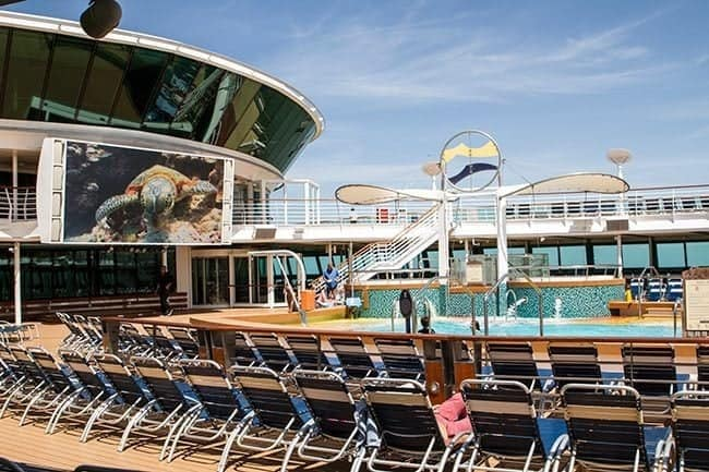 Royal Caribbean's Brilliance of the Seas Pool Are with a Big Screen