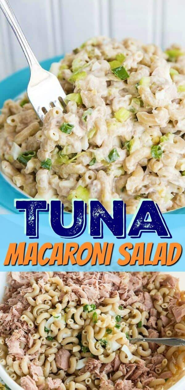 Retro Tuna Macaroni Salad just like mom used to make, fast , easy and delicious! My secret is to add pickles to give it a great tangy taste! #tuna #fish #seafood #salad #macaroni #pasta #picnic #wholewheat #healthy #pickles #celery #pastasalad