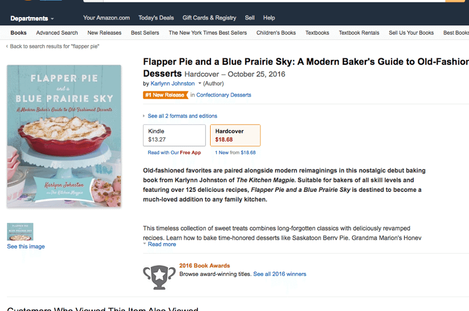 Flapper Pie & A Blue Prairie Sky Cook Book Amazon Details