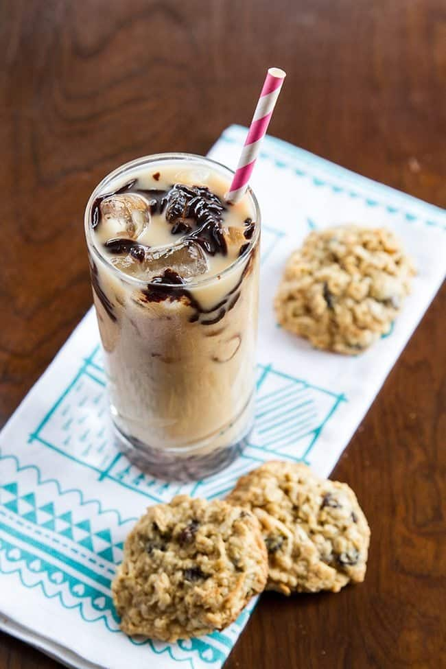 Boozy Bourbon Black Cow Drink with some cookies on side