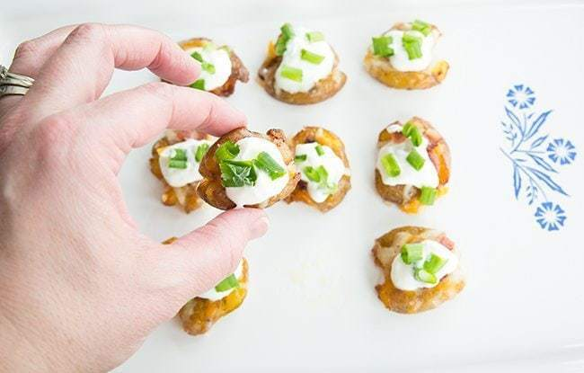 Mini Loaded Smashed Potato Bites from @kitchenmagpie