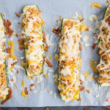 Cheesy Buffalo Chicken Zucchini Boats