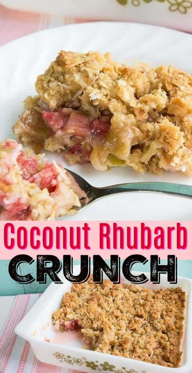 This rhubarb recipe, Rhubarb Crunch with coconut- this sweet and sour crunch ( like a rhubarb crisp but crunchier!) will soon become a new spring and summer favourite! #rhubarb #recipe #spring #summer #BBQ #picnic #dessert #coconut #baking