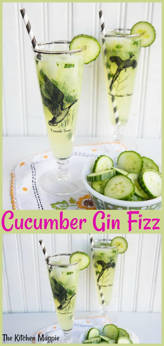 Crisp, cold and refreshing, this Cucumber Mint Gin Fizz is a summertime cocktail must! #gin #ginfizz #cucumber