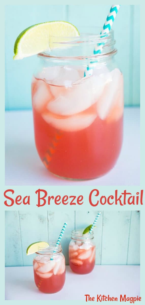 The Sea Breeze cocktail : vodka, cranberry and grapefruit juice combine to make one easy drinking cocktail! #cocktail #cranberry #grapefruit