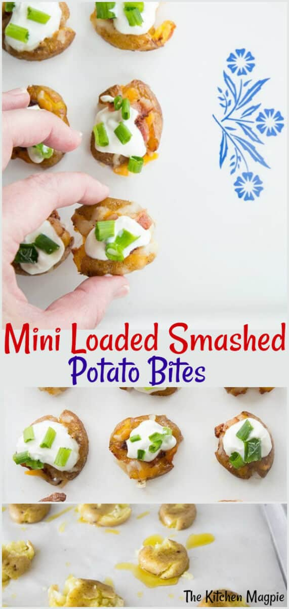 Mini Loaded Smashed Potato Bites! perfect for parties and so easy to make! #potatoes #appetizers