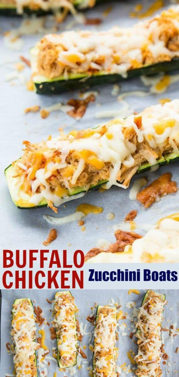 Cheesy Buffalo Chicken Zucchini Boats! Buffalo chicken mixed with ranch dressing then baked in cheese topped zucchini! Low carb & gluten free! #keto #lowcarb #zucchini