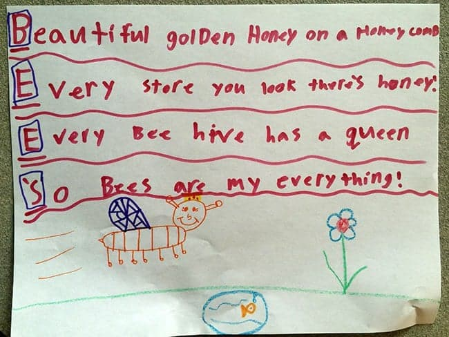 hand written poem with drawing of bee and flower