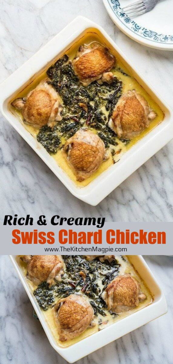 Creamy Garlic Swiss Chard Chicken- the delicious way to eat your greens and bake chicken thighs in a creamy Parmesan garlic sauce. #chicken #chickenthighs