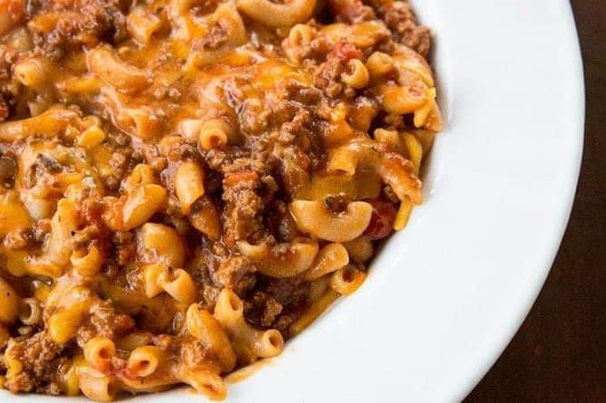 Classic American Goulash in a white large serving plate