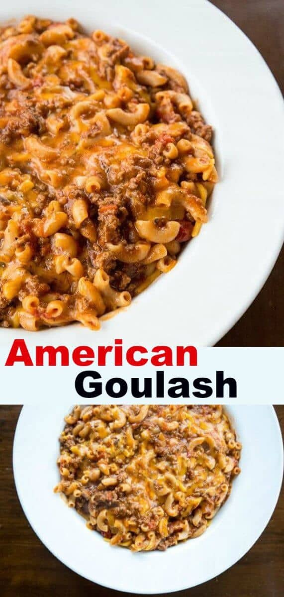 This classic American Goulash is ground beef simmered in a tomato sauce with elbow macaroni, it's one pot and the entire family will love it! This is comfort food to the max! #goulash