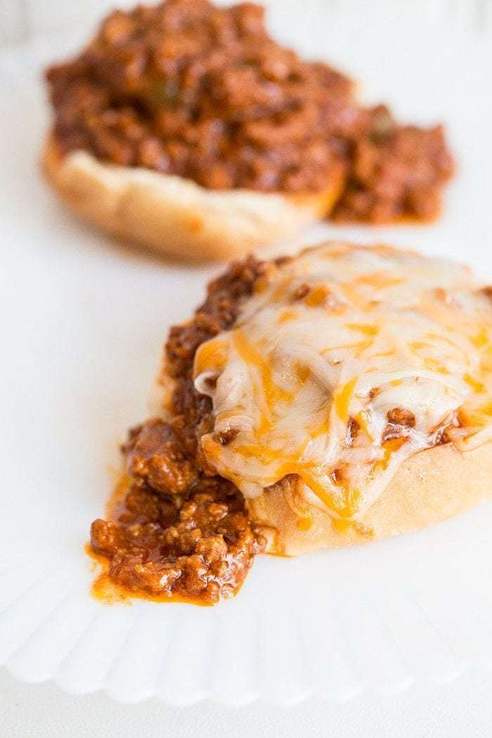 Sloppy Joes with melted cheddar cheese on top