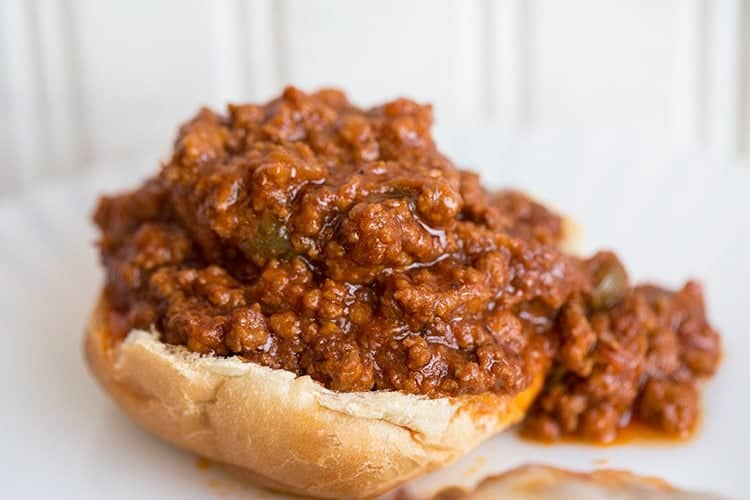 Sloppy Joes on top of hamburger buns