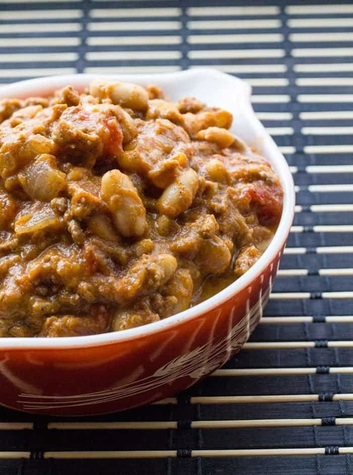 close up bowl of White Bean Pumpkin Chili