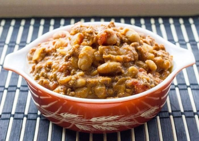 White Bean Pumpkin Chili in a large serving bowl