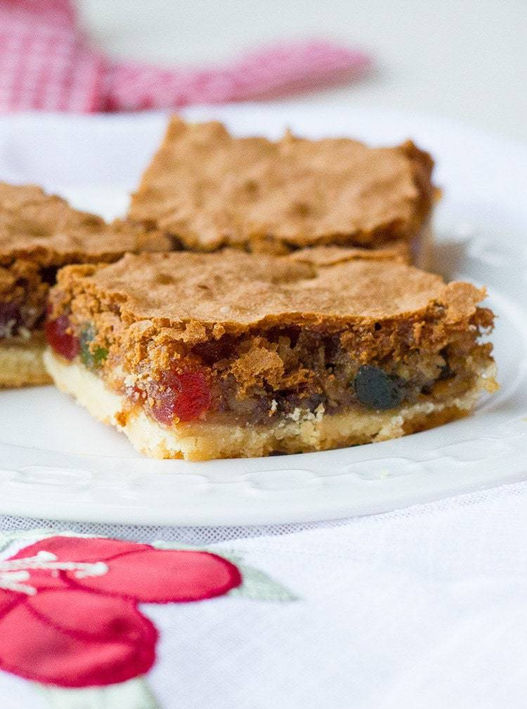 3 pieces Walnut Cherry Slice Bars in a white plate