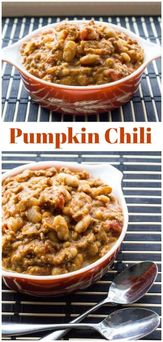 This White Bean Pumpkin Chili will soon become a new family favourite! Use turkey or ground beef in it, the choice is yours. #pumpkin #chili