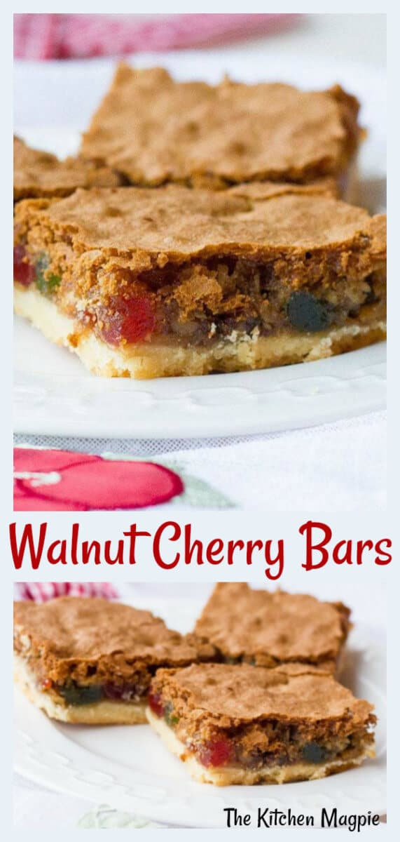 Delicious walnut cherry slice bars, perfect for the holidays! #cherry #Christmas #bars #walnut