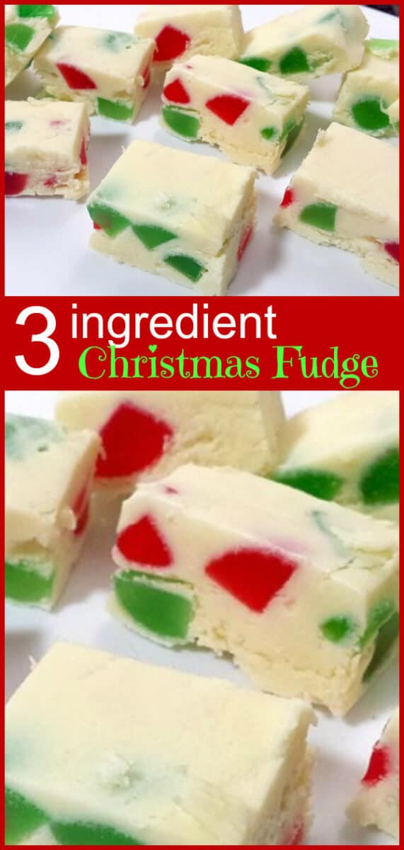 This Christmas colored fudge is only THREE ingredients! #christmas #fudge