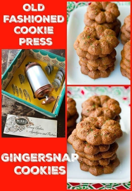 Classic Gingersnap Cookies that you can make with a cookie press or bake normally! #Christmas #cookies #gingersnaps