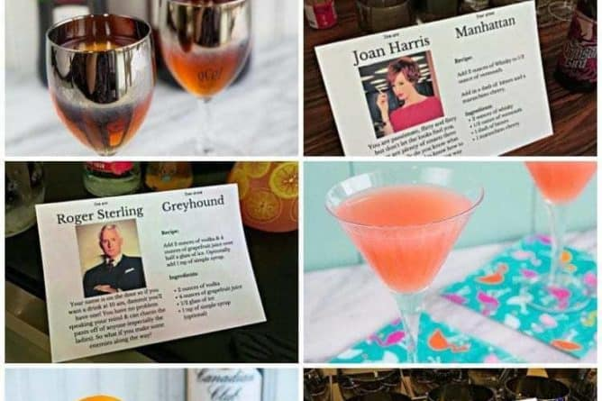 How to Throw a Mad Men Party - collage of home cocktail party details