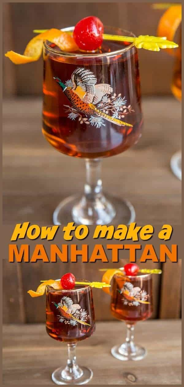 Get the perfect Manhattan Cocktail Recipe, this whisky and vermouth based, sweet drink is great for sipping. #cocktail #drink #recipe #manhattan #whiskey #vermouth #madmen #retro #vintage #midcentury