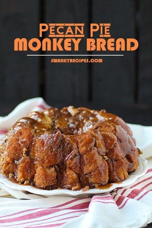 Pecan Pie Monkey Bread in a white plate