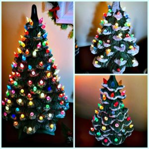 three vintage ceramic Christmas trees