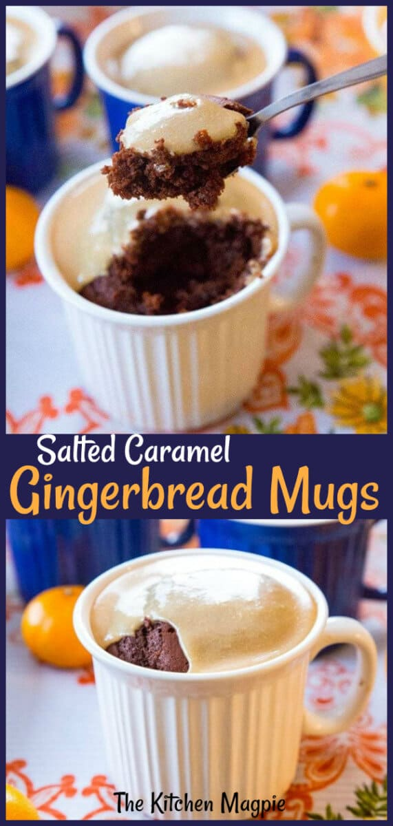 Delicious gingerbread cake with salted caramel baked up in individual mugs to share! #gingerbread #caramel