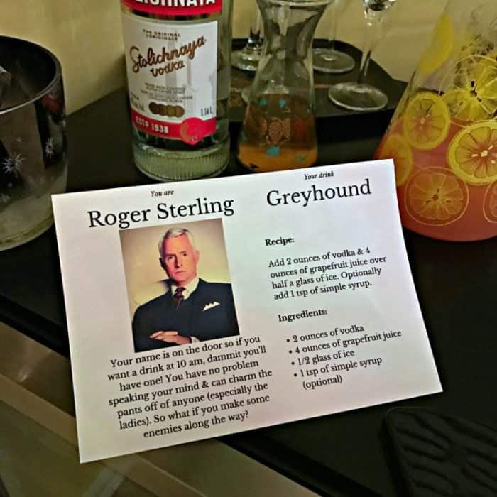 a card with Roger Sterling's profile and the ingredients of Classic Greyhound cocktail