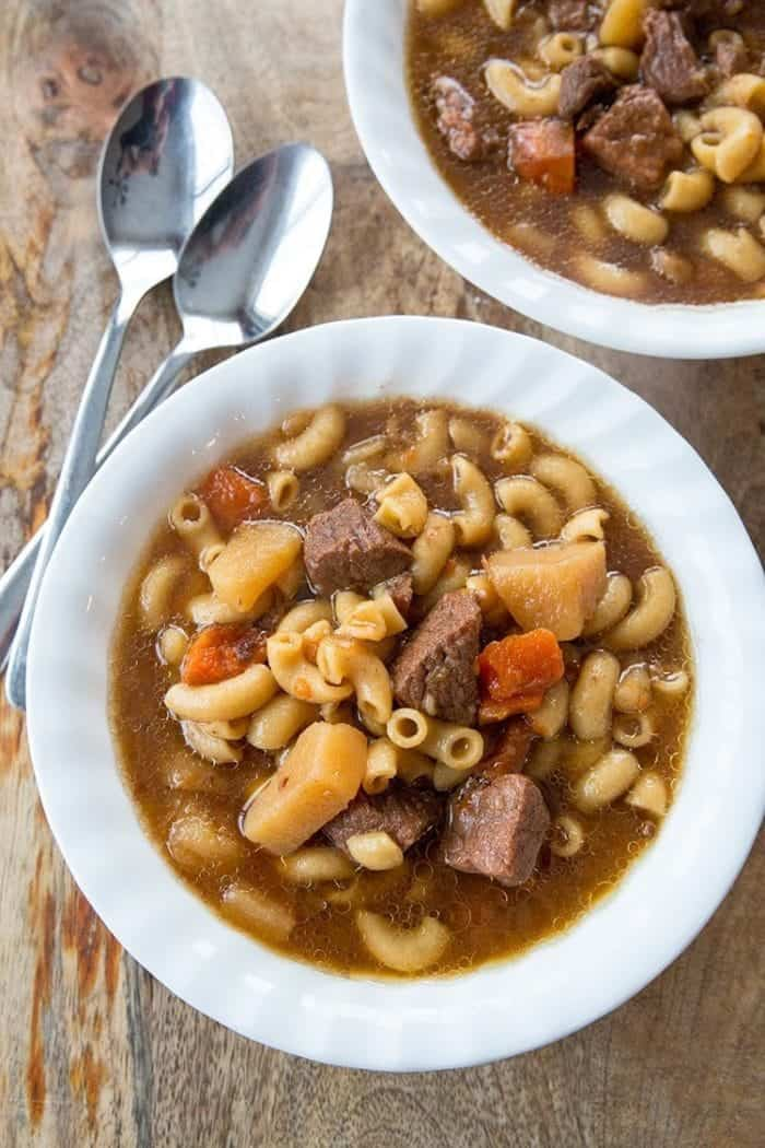 Beef Macaroni Soup by @kitchenmagpie