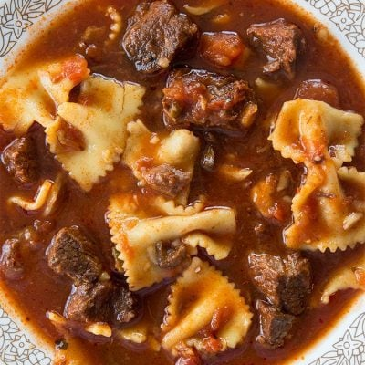 Beefy Pasta Puttanesca Soup