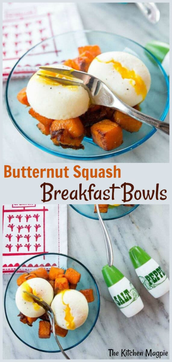 Maple Roasted Butternut Squash Goal Bowl - delicious and healthy, this roasted butternut squash is a great way to get your vegetables in first thing in the morning, but also makes a great meal anytime of the day! #healthy #butternut #squash