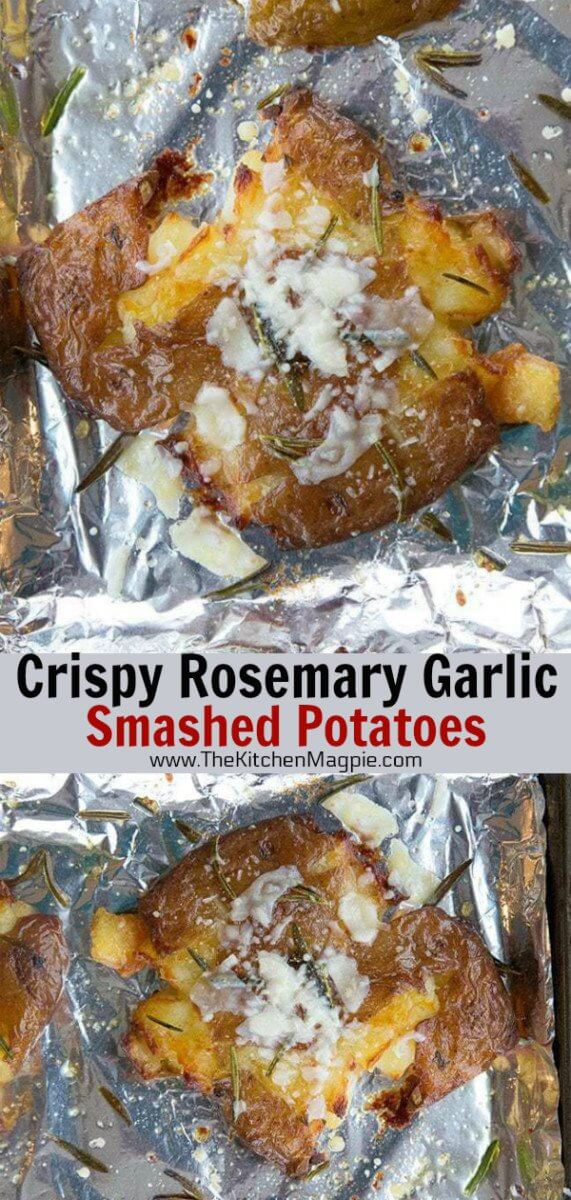 Crispy garlic and rosemary smashed potatoes recipe, with a touch of Parmesan cheese baked on top. The perfect smashed potatoes! #potatoes #bakedpotatoes #smashedpotatoes