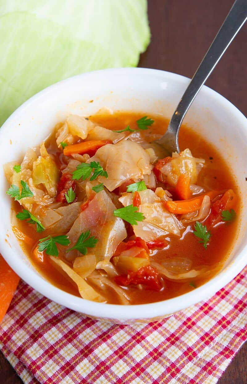 Cabbage Soup with Parsley Garnish